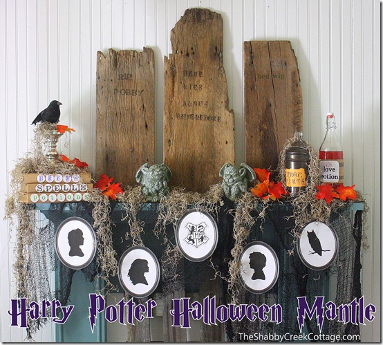 The Shabby Creek Cottage - Harry Potter Halloween mantel