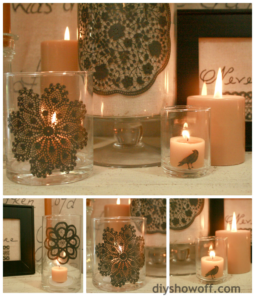 silkscreen glass candle holders