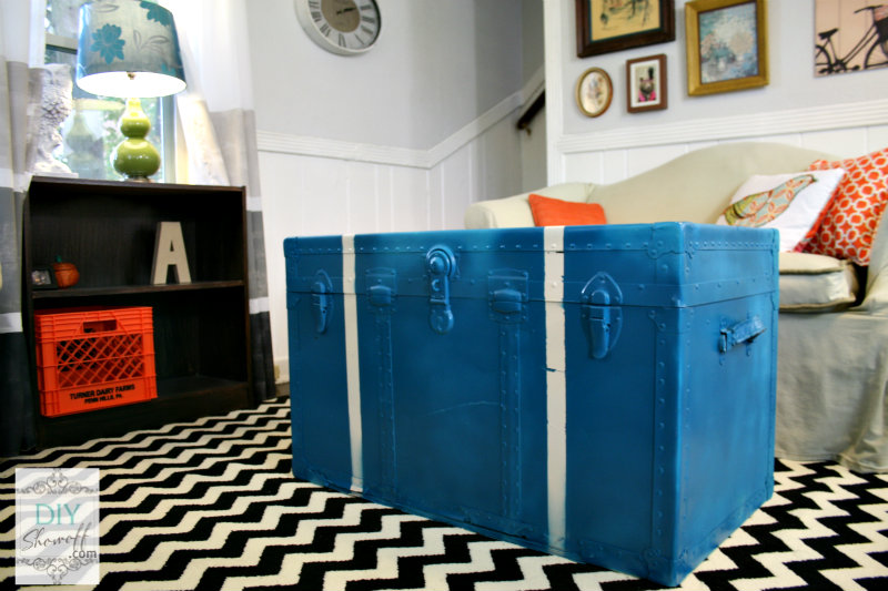Tiffany & Co. spray painted steamer trunk