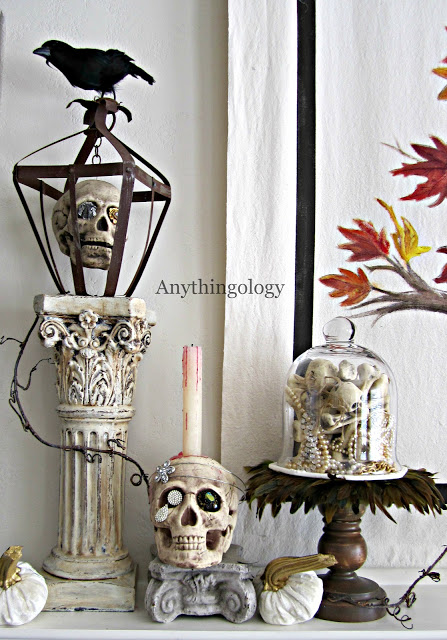 skeleton mantel at Anythingology blog