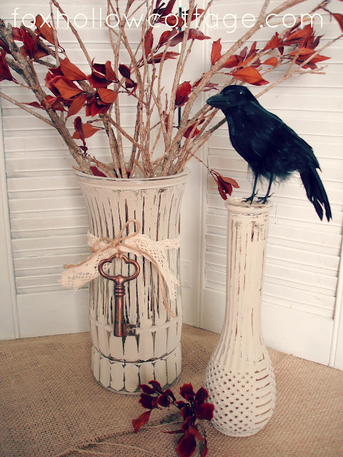 distressed painted glass vases