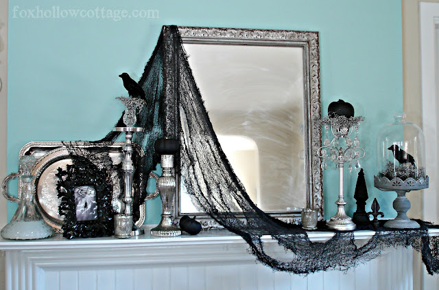 gothic halloween mantel at fox hollow cottage
