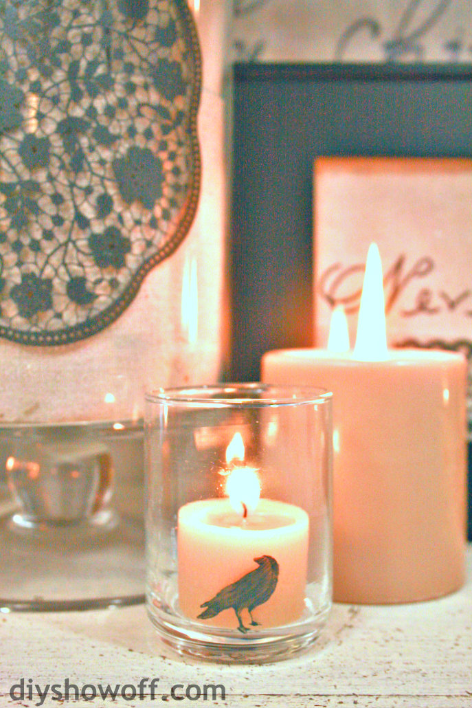 crow candle votive