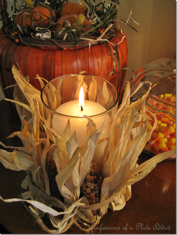 DIY Indian corn candle holder