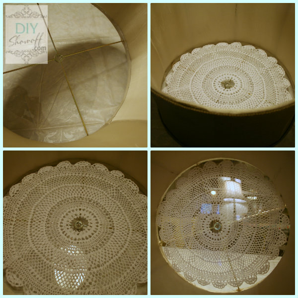 plexiglass doily drum shade. So pretty DIY ceiling mount light .