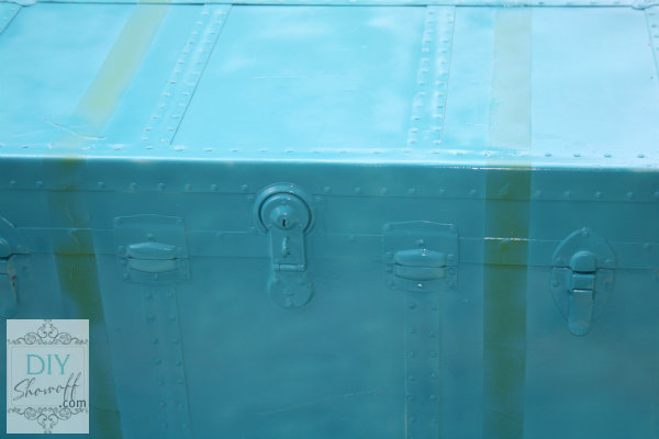 spray painted steamer trunk