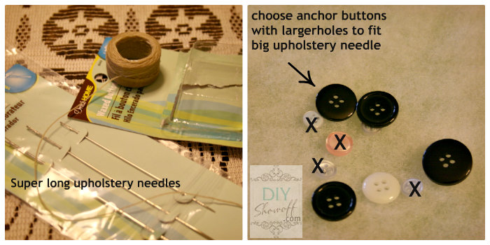 DIY ottoman - tufting materials