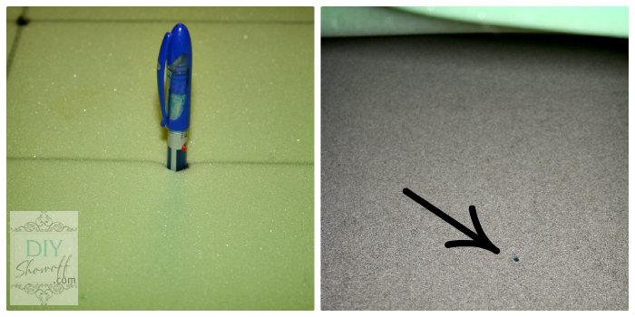 DIY ottoman tutorial - marking drill holes