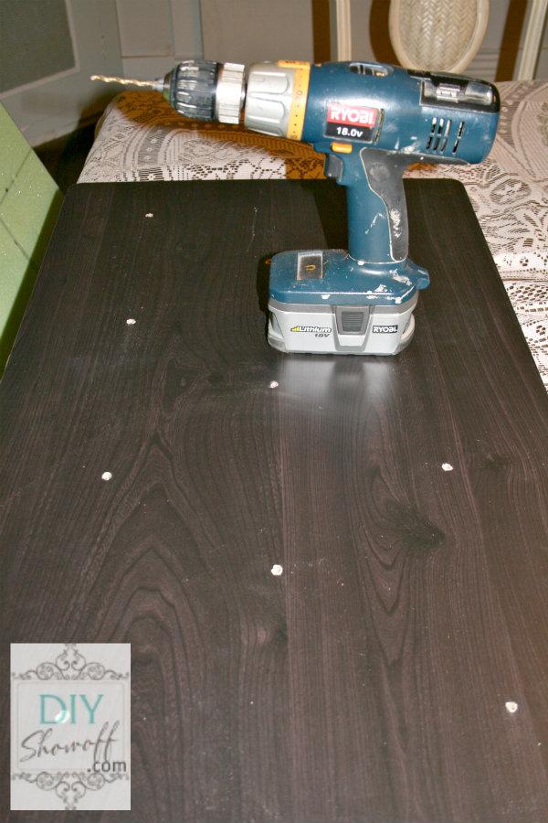 DIY ottoman tutorial - drill holes