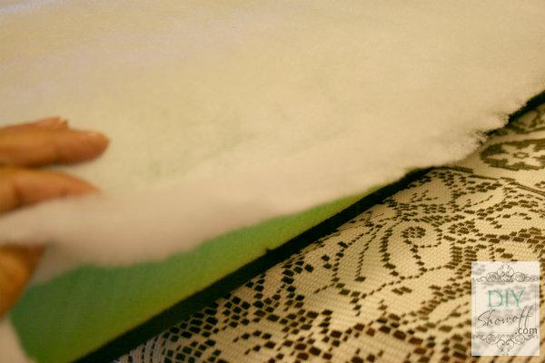 DIY ottoman tutorial - cover foam with batting