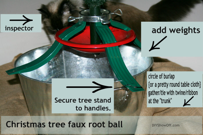 directions: Christmas tree faux root ball