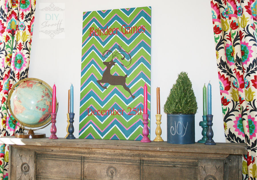 DIY colorful Christmas chevron reindeer games sign