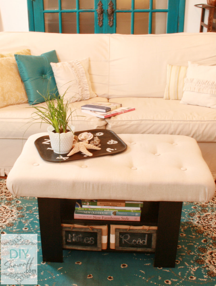 DIY upholstered tufted ottoman
