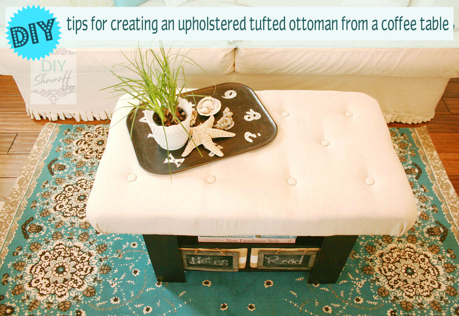 DIY upholstered tufted ottoman tutorial