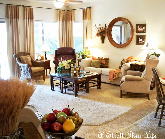 a stroll thru life - fall  autumn living room
