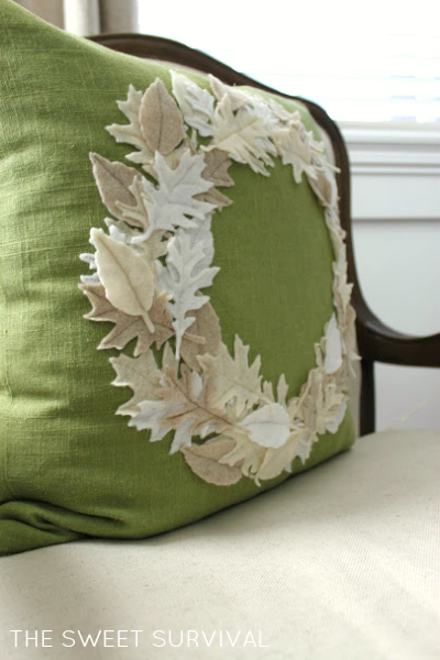 harvest circle felt leaves accent pillow - The Sweet Survival