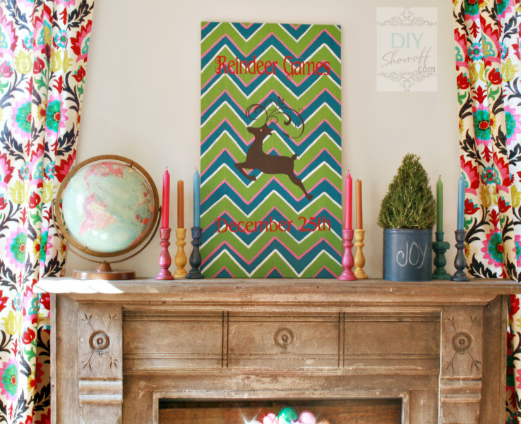 DIY chevron Christmas Reindeer Games sign