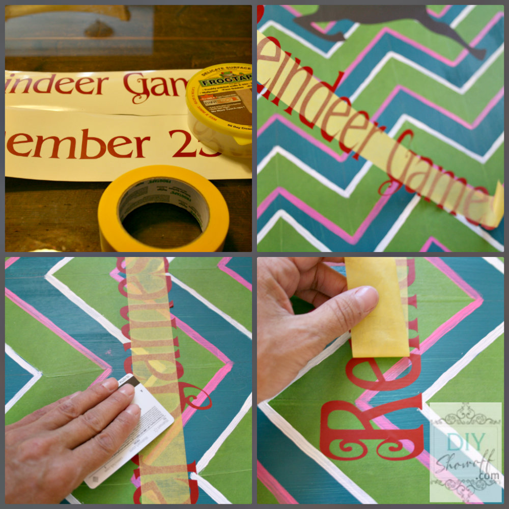 DIY chevron Christmas Reindeer Games sign tutorial