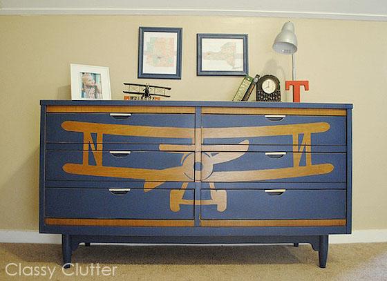 DIY, stenciled biplane dresser @Classy Clutter