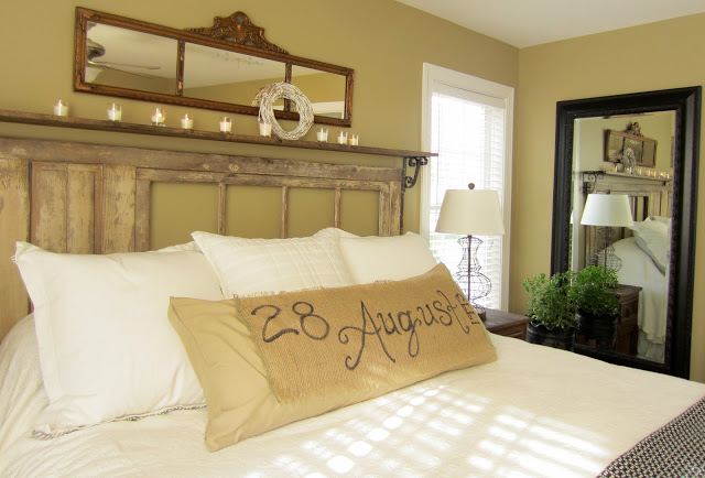 vintage rustic master bedroom @Down to Earth Style