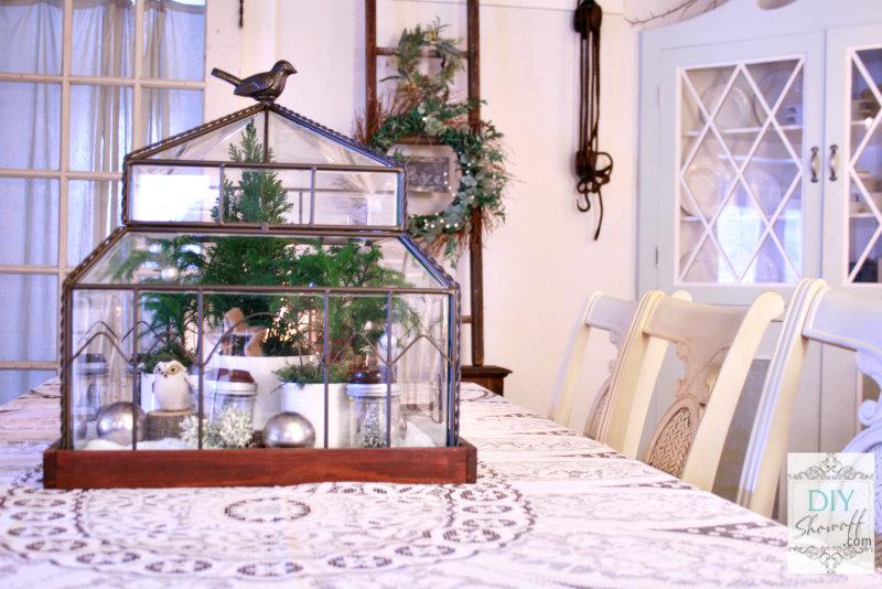 Christmas terrarium centerpiece
