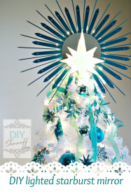 DIY lighted starburst mirror tree topper tutorial