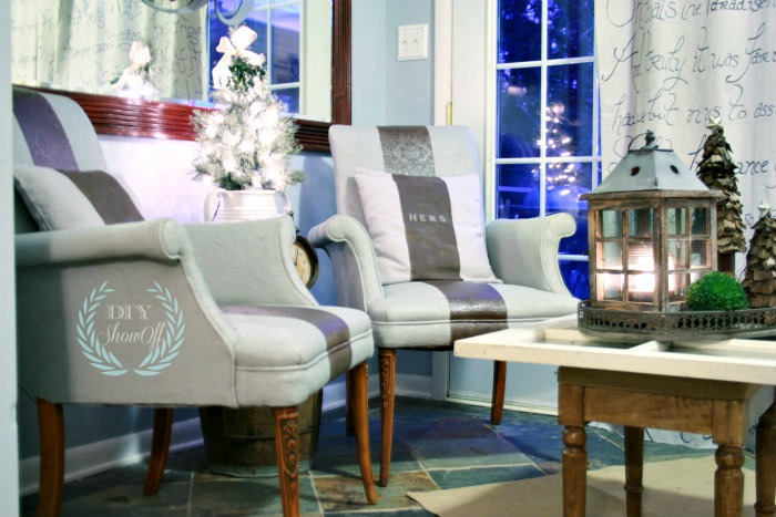 Christmas sitting room with painted striped chairs