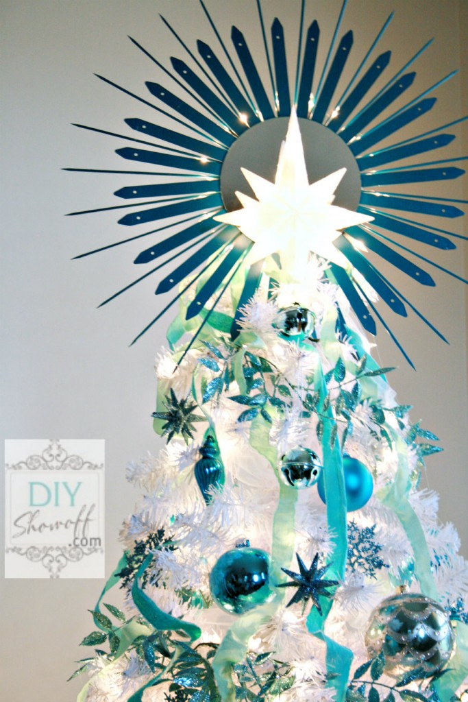 DIY lighted sunburst mirror tree topper