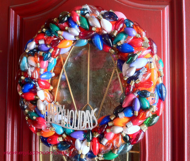wreath made from burnt out Christmas lights