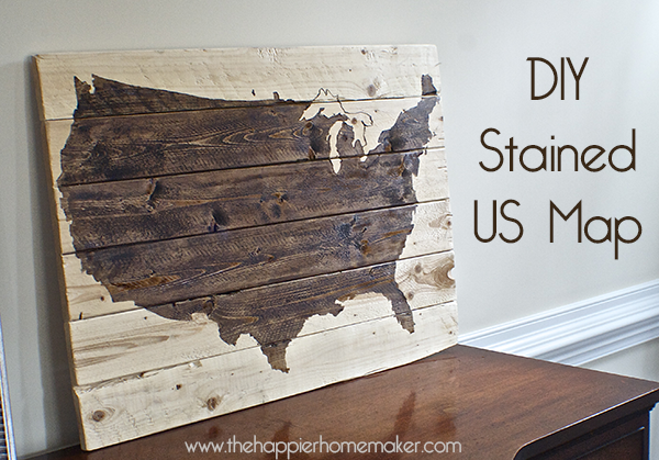 diy wood stained US map