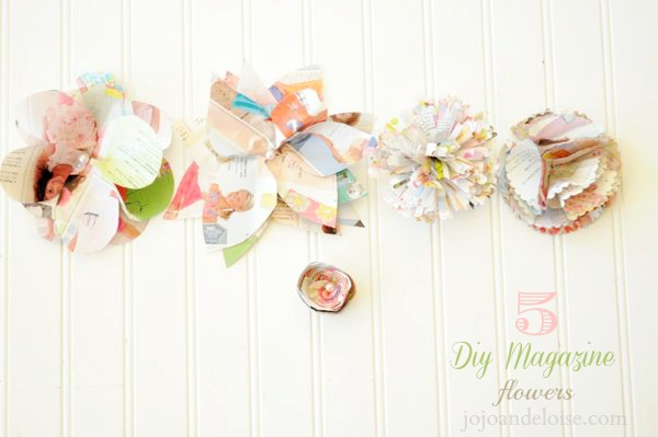 DIY magazine page flowers