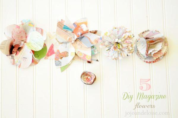 DIY magazine page flowers