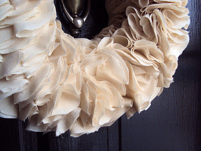DIY muslin rosette wreath