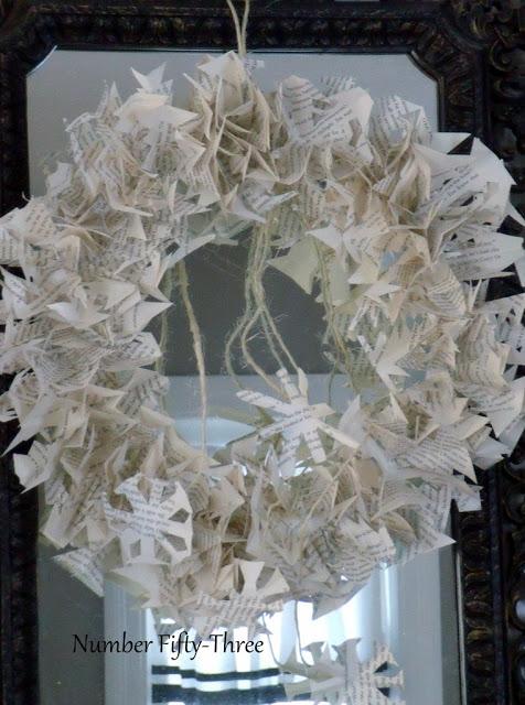easy bookpage snowflake wreath