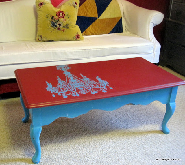 chandelier stenciled coffee table