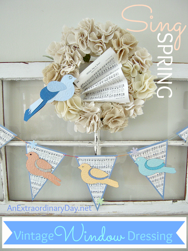 Vintage-Window-Dressing-for-Spring-with-Wreath-Birds-Music-Paper-AnExtraordinaryDay.net_