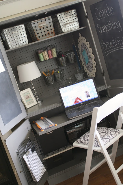painted-armoire-craft-desk