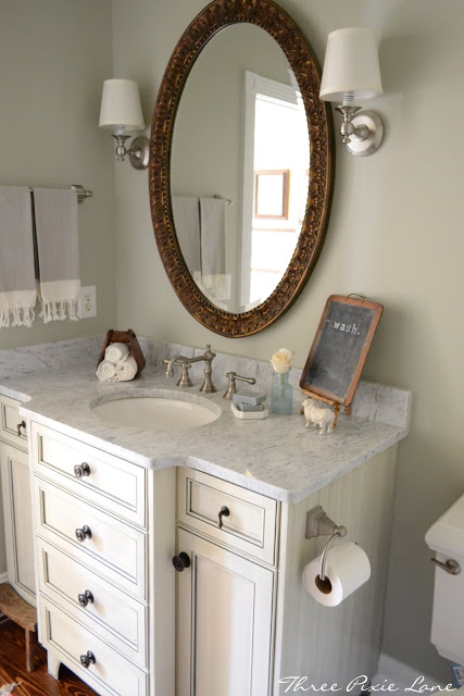 powder-room-makeover by Three Pixie Lane