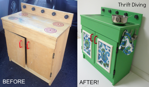 before-after-wooden-play-kitchen by Thrift Diving blog