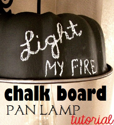 diy-chalkboard-pan-light by Too Much Time
