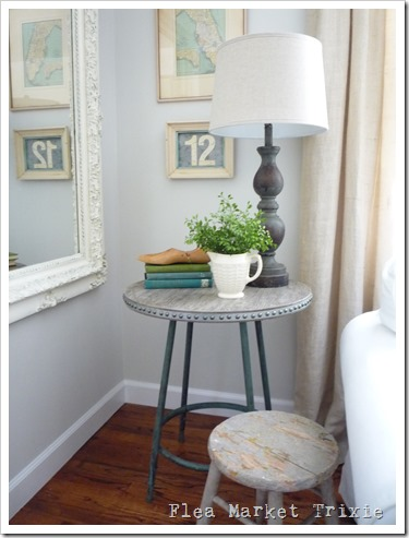 stool-turned-table by Flea Market Trixie