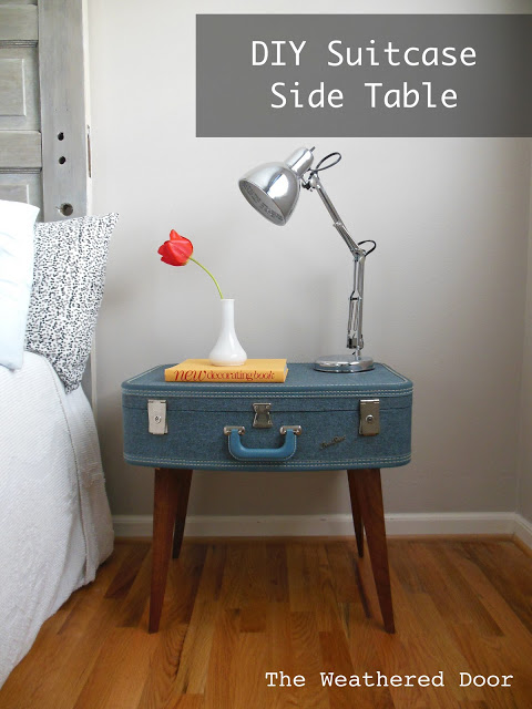 DIY Suitcase Side Table by the Weathered Door