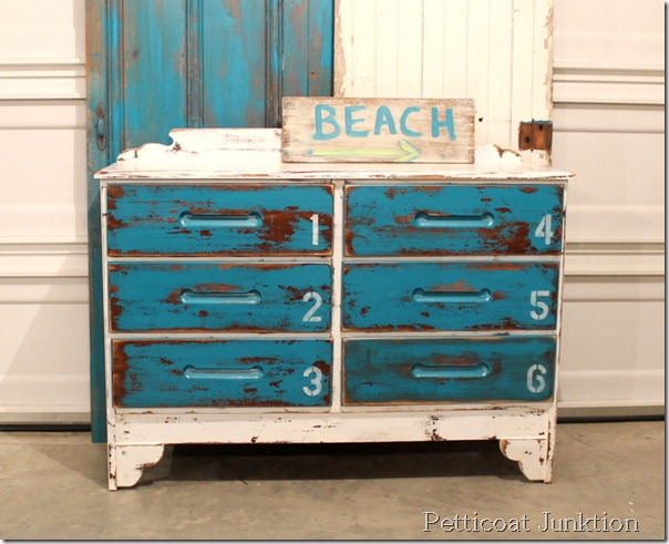 beach inspired dresser makeover at Petticoat Junction