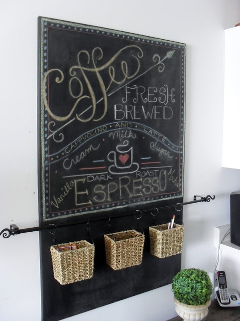 chalkboard organizer at Home Frosting