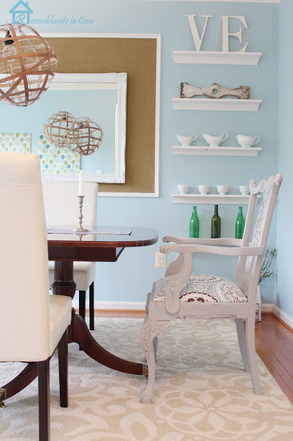 dining room makeover at Remodelandolacasa