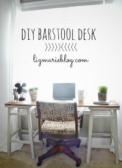 diy bar stool desk by liz marie blog