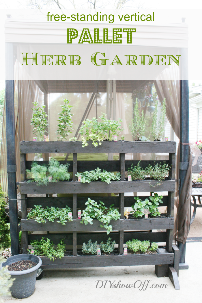 Free standing pallet herb garden diy show off diy decorating and home improvement blogdiy - Make outdoor pallet swing step step guide ...