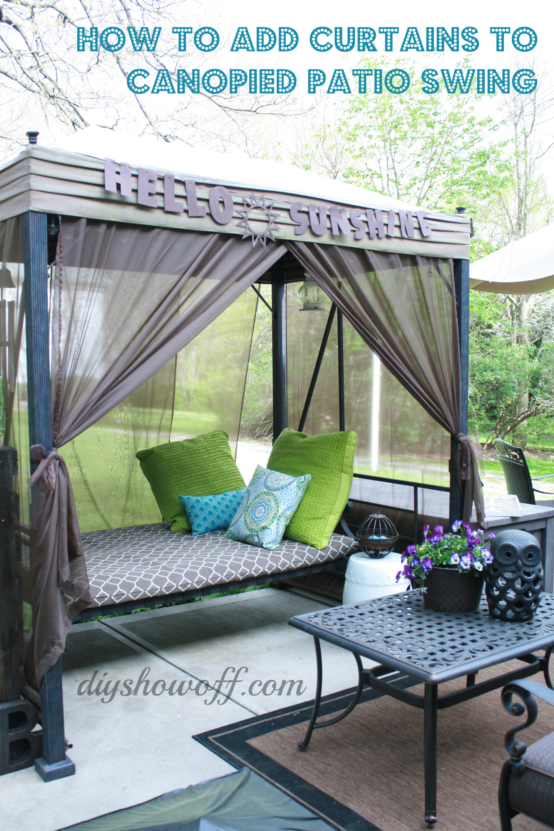 How To Add Curtains A Patio Swing
