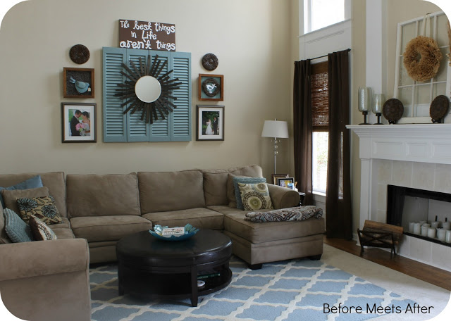 new changes in family room Before Meets After blog