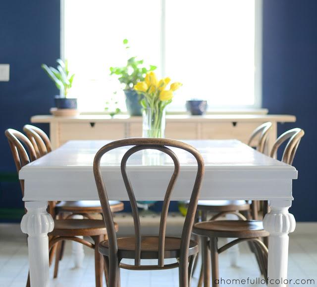 oil based painted table makeover at A Home Full of Color